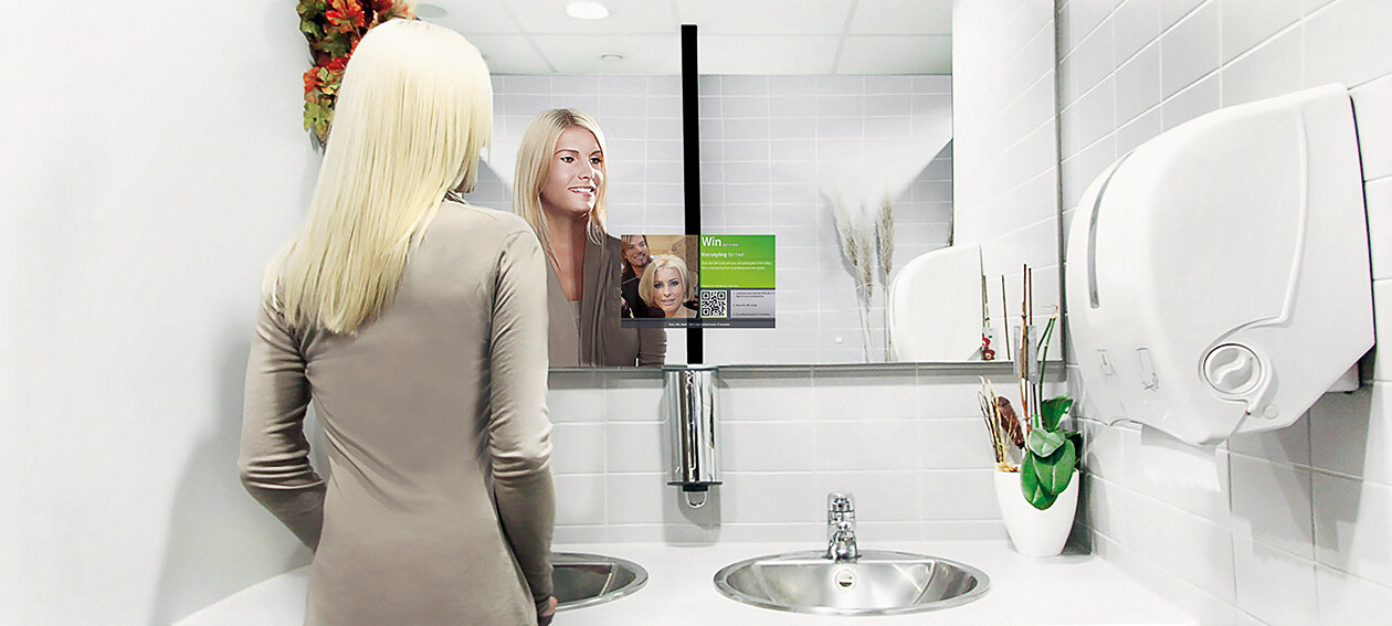 "13.3"" Mirror TV for commercial application, installed in a public restroom environment @ Oscar Club in Germany."
