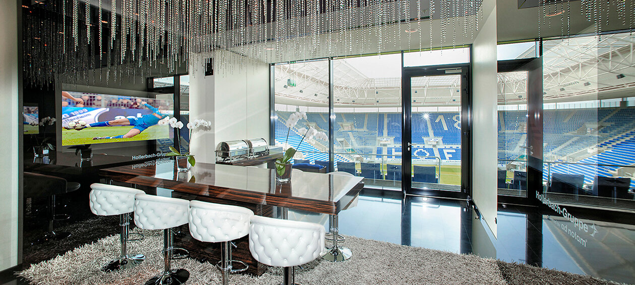 "65.0"" Glass TV for commercial application, installed in a lounge environment @ VIP lounge Rhein-Neckar-Arena in Germany."