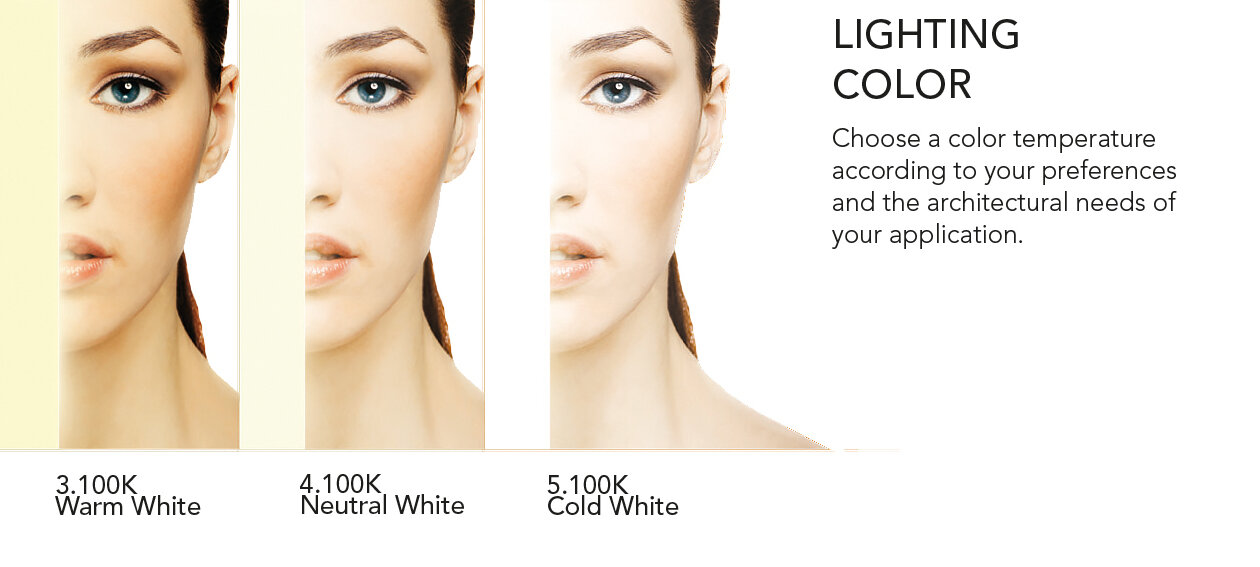 Lighting Color. Color Temperatures: 3100K, 4100K, and 5100K